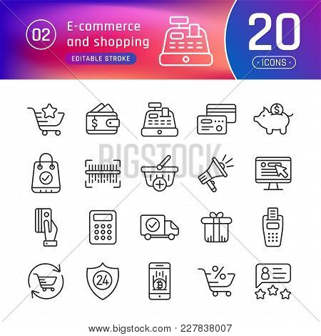 Online Shopping And E-commerce Line Icons Set. Suitable For Banner, Mobile Application, Website. Edi