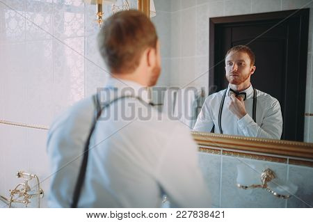 Portrait Of A Young Bearded Groom On The Eve Of The Wedding, The Groom's Morning
