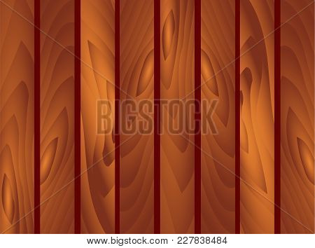 Vector Eps 10 Wooden Brown Planks Background. Garden Fence, Fencing, Guardrail. St. Patrick Day, Mar