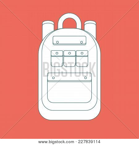 Simple Icon With A Backpack On A Background. Stock Flat Vector Illustration.