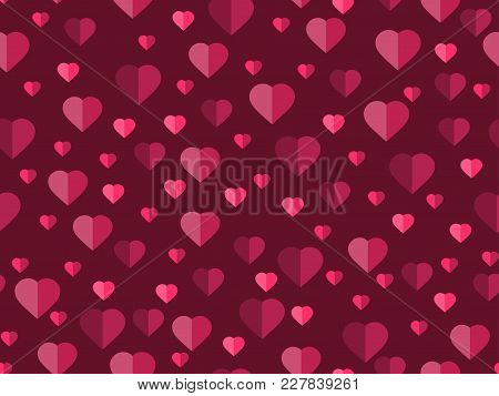 Valentine's Day. 14 February. Seamless Pattern With Hearts. Festive Background For Greeting Card, Ba