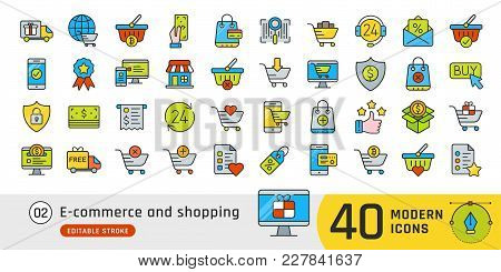 Online Shopping And E-commerce Line Icons Set. Pictogram Collection Suitable For Banner, Mobile Appl