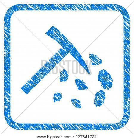 Stone Mining Hammer Rubber Seal Stamp Imitation. Icon Vector Symbol With Grunge Design And Dirty Tex