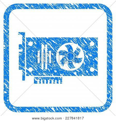 Videocard Rubber Seal Stamp Imitation. Icon Vector Symbol With Grunge Design And Dirty Texture Insid