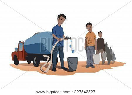 Water Scarcity Concept. African People Stand In Line For Water. The Water Truck. Vector Illustration
