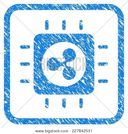 Ripple Processor Chip Rubber Seal Stamp Imitation. Icon Vector Symbol With Grunge Design And Corrosi