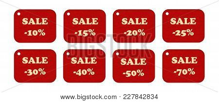 Set Of Price Tags, Labels. Design Elements Of Promotion. Promotional Offers, Sale. Suitable For Disc