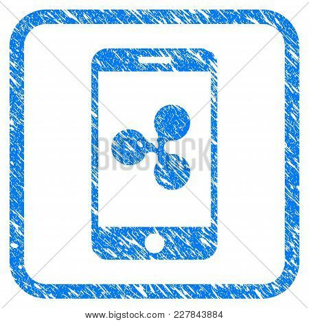 Ripple Smartphone Rubber Seal Stamp Imitation. Icon Vector Symbol With Grunge Design And Dust Textur