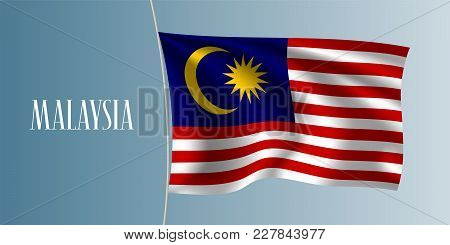 Malaysia Waving Flag Vector Illustration. Iconic Design Element As A National Malaysian Symbol