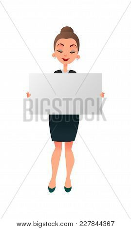 Woman Manager Or Teacher Holding A White Board Against White Background. Businessman Holds A Horizon