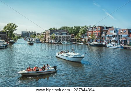 Sneek, Netherlands, 23 August 2015: The Marina At The Frisian Town Of Sneek In The Netherlands