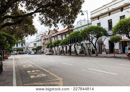 Sucre, Boliwia - February 08, 2018: Sucre Is The Constitutional Capital Of Bolivia. Traditional Colo