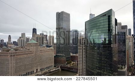 Aerial Elevated View Of Chicago Skyline As Seen From The Branch  In The Chicago River, Chicago, Il,