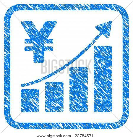 Yen Growth Trend Rubber Seal Stamp Imitation. Icon Vector Symbol With Grunge Design And Dirty Textur
