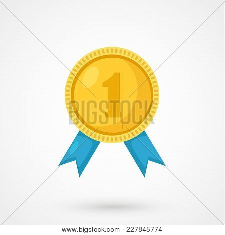 Gold Medal For First Place. Trophy, Winner Award Isolated On White Background.