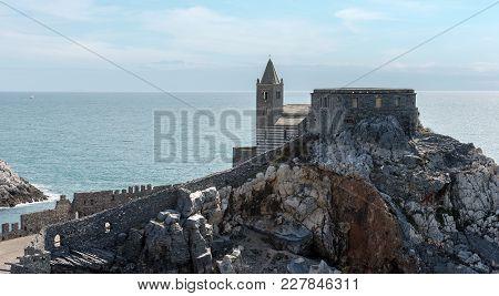 The Ancient Church Of San Pietro (st. Peter Consecrated In 1198) In Portovenere Or Porto Venere (une