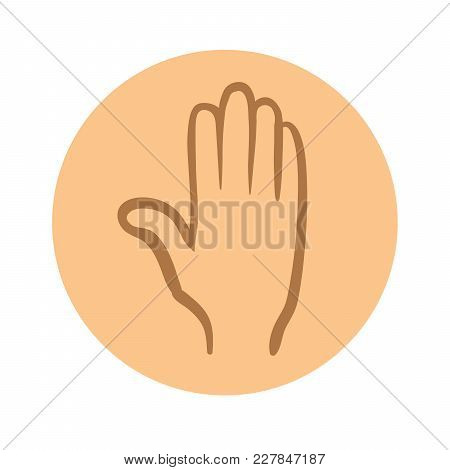 Human Hand Icon. Vector Pictogram Illustration, Isolated On White Background.