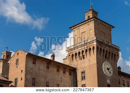 Estense Castle Or Castle Of San Michele (1385) With The Clock Tower (marchesana Tower).  Is A Moated