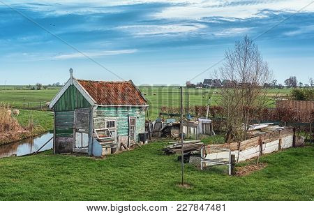 An Old Derelict Barn On The Island Of Marken In The Netherlands