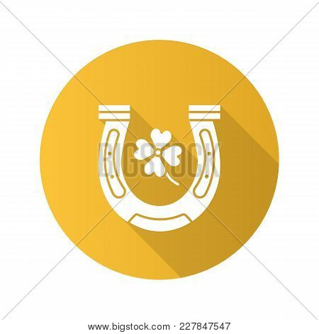 Horseshoe And Four Leaf Clover Flat Design Long Shadow Glyph Icon. Symbols Of Success And Good Luck.