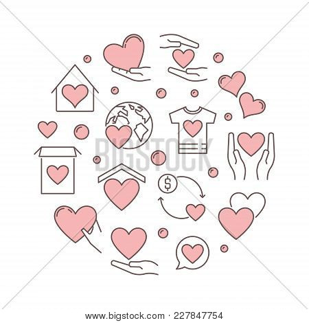 Charity And Fundraising Vector Round Pink Modern Illustration On White Background
