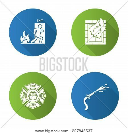 Firefighting Flat Design Long Shadow Glyph Icon. House On Fire, Firefighter Badge, Garden Hose, Emer