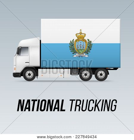 Symbol Of National Delivery Truck With Flag Of San Marino. National Trucking Icon And Flag Colors