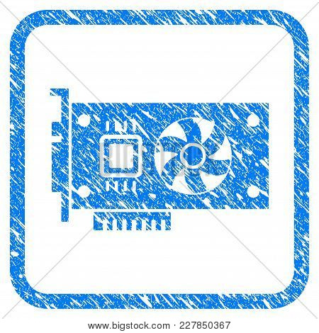 Video Accelerator Card Rubber Seal Stamp Imitation. Icon Vector Symbol With Grunge Design And Corros