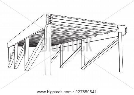 Regular Empty Roller Conveyor Section. Wireframe Low Poly Mesh Vector Illustration