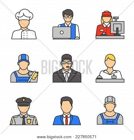 Professions Color Icons Set. Occupations. It Technologist, Cashier, Cleaner, Bodyguard, Receptionist