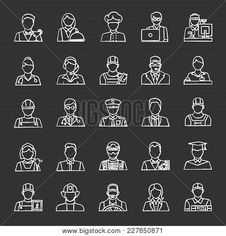 Professions Chalk Icons Set. Occupations. Workers. Isolated Vector Chalkboard Illustrations