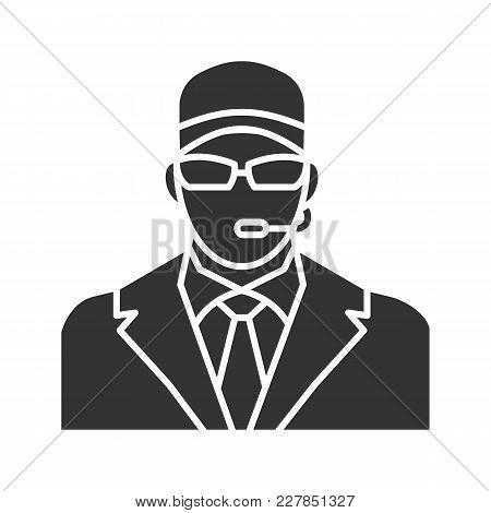 Security Guard Glyph Icon. Bodyguard. Silhouette Symbol. Negative Space. Vector Isolated Illustratio