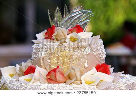 Wedding Cake With Nice Decoration Of Roses Closeup