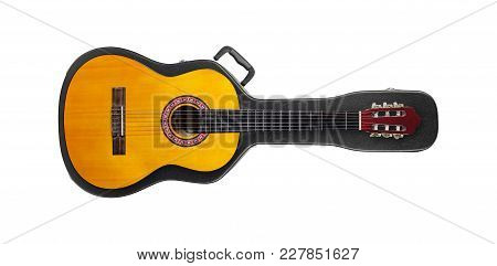 Musical Instrument - Acoustic Classic Guitar From Above On A Hard Case On A White Background.