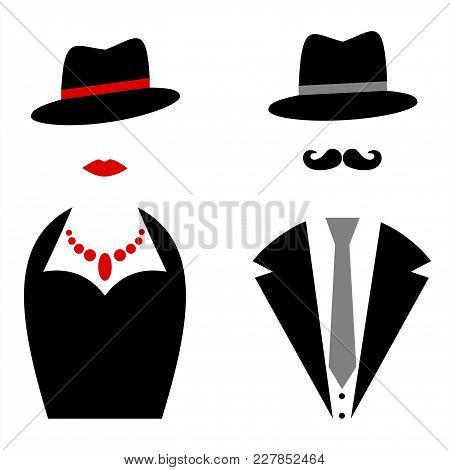 Gentleman And Lady Symbols. Man And Woman Silhouettes. Persons With A Hat.