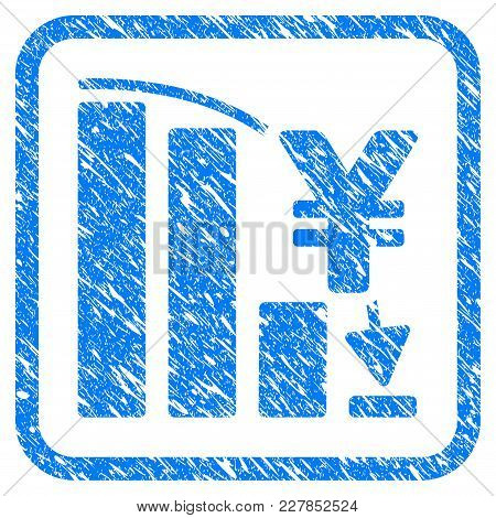 Yen Epic Fail Chart Rubber Seal Stamp Watermark. Icon Vector Symbol With Grunge Design And Dirty Tex