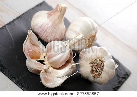 The Clove Garlic On The Slate Plate
