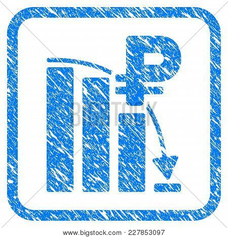 Rouble Panic Fall Chart Rubber Seal Stamp Watermark. Icon Vector Symbol With Grunge Design And Dirty