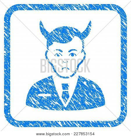 Satan Rubber Seal Stamp Imitation. Icon Vector Symbol With Grunge Design And Corrosion Texture In Ro