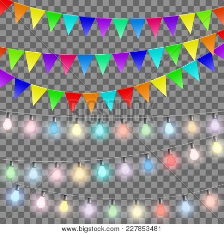 Garlands Of Flags And Colored Lamps. Set Of Decorations Isolated On Transparent Background. Stock Ve