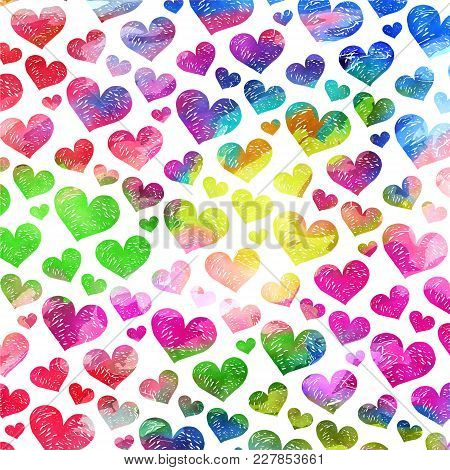 A Vibrant And Colorful Watercolor Ink Love Heart Pattern.