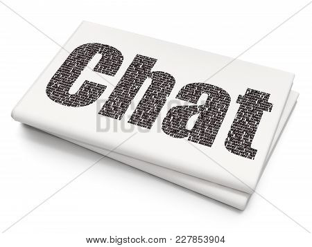 Web Design Concept: Pixelated Black Text Chat On Blank Newspaper Background, 3d Rendering