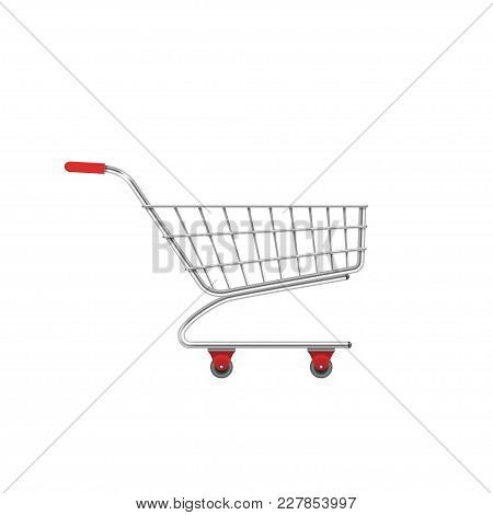 Shopping Supermarket Cart. E-commerce Symbol, Vector Illustration