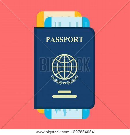 Vector Passport With Tickets. Air Travel Concept. Flat Design Citizenship Id For Traveler Isolated.