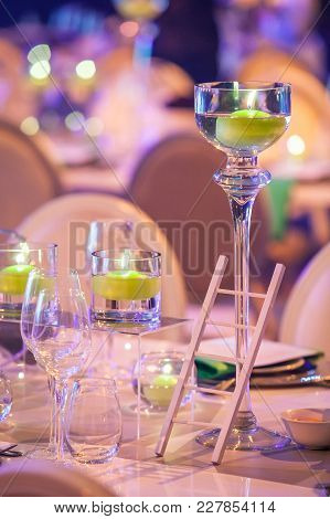 Table Decorations For A Fancy Awards Dinner. Table Decorations For Evening Event.
