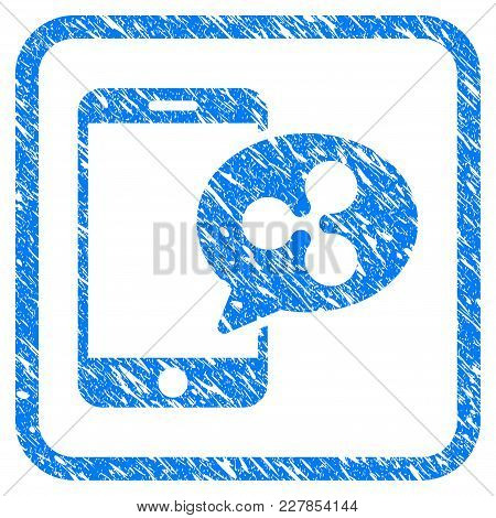 Smartphone Ripple Message Rubber Seal Stamp Watermark. Icon Vector Symbol With Grunge Design And Dir