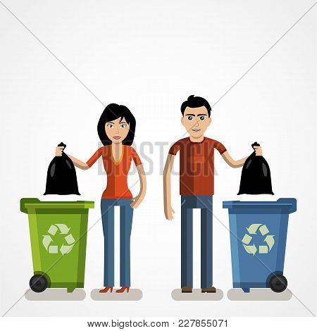 Garbage Can, Waste Bin, Trash Container, Dumpster Infographic. Keep Clean Or Do Not Litter, Concept.