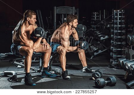 Two Men Bodybuilders Execute Exercise With Dumbbells For Biceps Sitting In Dark Gym Looking In The M
