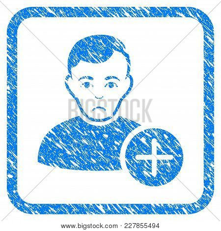 User Add Rubber Seal Stamp Watermark. Icon Vector Symbol With Grunge Design And Dirty Texture Inside