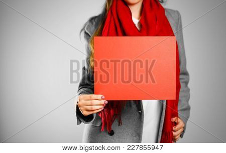 A Girl In Grey Coat And Red Scarf Keeps A Red Clean Blank Sheet Of A4. Isolated On Grey Background.